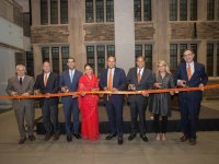 Shown at the dedication of the M.S. Chadha Center for Global India, from left to right, are: Stephen Kotkin, the John P. Birkelund '52 Professor in History and International Affairs and director of the Princeton Institute for International and Regional